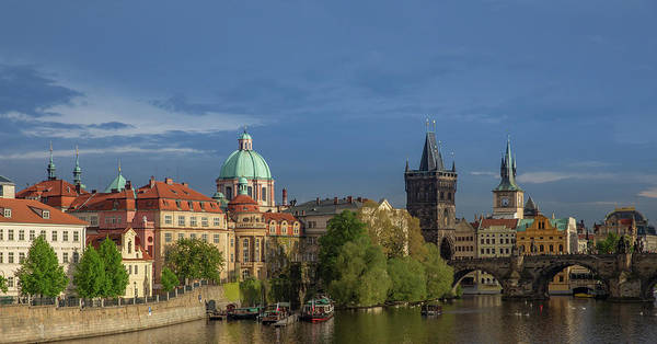 Wall Art - Photograph - Old Town Prague  And Charles Bridge At Dusk by Bridget Calip