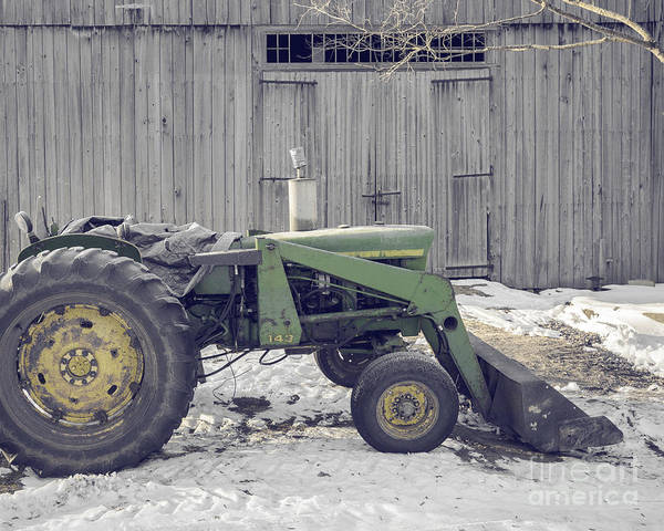 New England Barn Photograph - Old Tractor By The Grey Barn by Edward Fielding