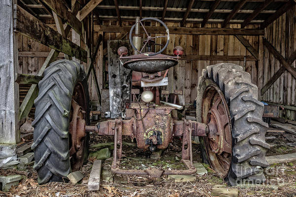 New England Barn Photograph - Old Tractor In The Barn by Edward Fielding