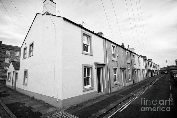 Wall Art - Photograph - old two up two down traditional mill houses in mill street Whitehaven Cumbria England UK by Joe Fox