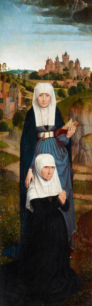 Saint Anne Painting - Old Woman At Prayer With St. Anne by Hans Memling