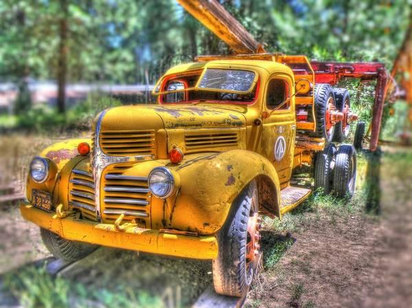 Heavy Duty Truck Wall Art - Photograph - Old Yellow Dodge  by Peter Schumacher