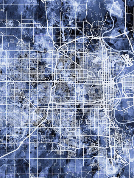 Wall Art - Digital Art - Omaha Nebraska City Map by Michael Tompsett