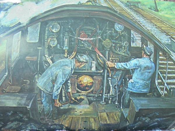 Wall Art - Painting - On The Footplate by Mike Jeffries