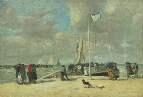 Painting - On The Jetty by Eugene Boudin