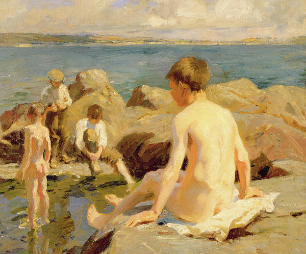Newlyn Painting - On The Rocks Near Newlyn by Harold Harvey