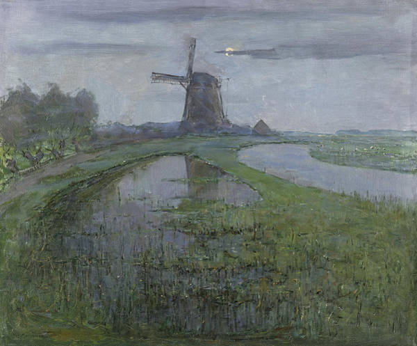 De Stijl Painting - Oostzijdse Mill Along The River Gein By Moonlight by Piet Mondrian
