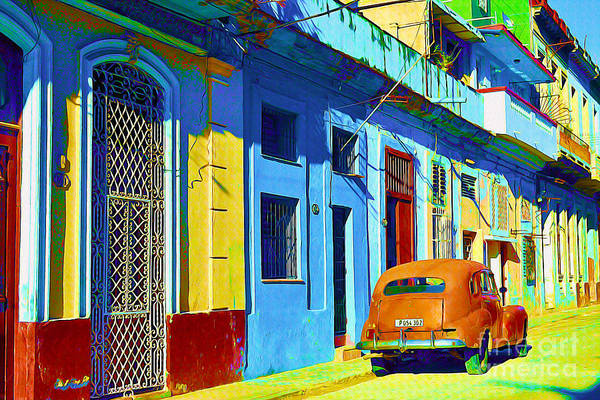 World Heritage Site Painting - Orange Classic Car - Havana Cuba by Chris Andruskiewicz