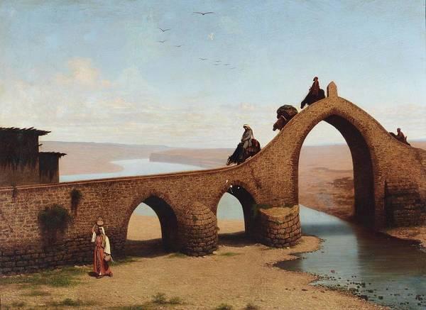 Cesare Painting - Orientalist Landscape With Bridge by Cesare Biseo