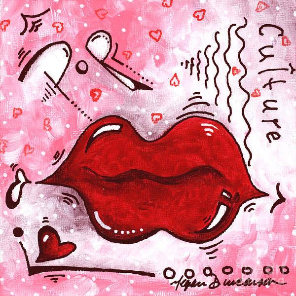 Wall Art - Painting - Original Mini Pop Art Lips Kiss Pop Culture Painting Kissable By Megan Duncanson by Megan Duncanson