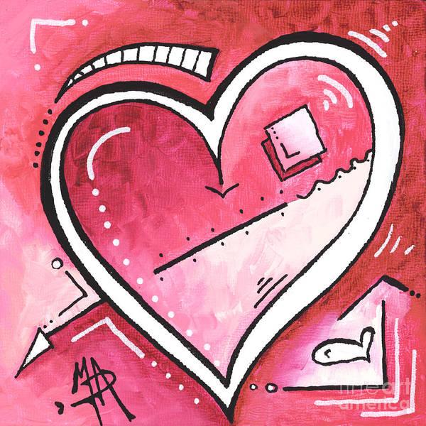 Wall Art - Painting - Original Mini Pop Of Love Heart Painting Pop Art By Megan Duncanson Bubblegum Pink by Megan Duncanson