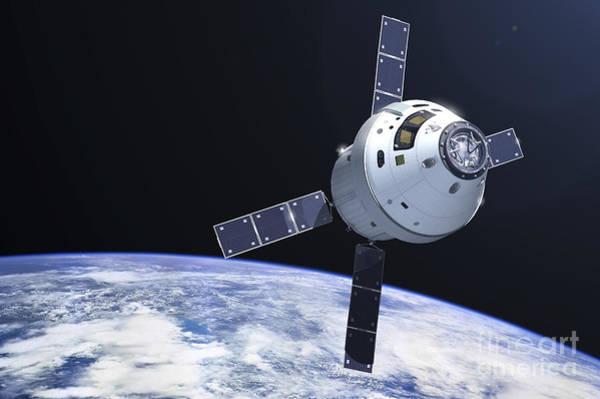 Orion Digital Art - Orion Module In Orbit Above Earth by Adrian Mann