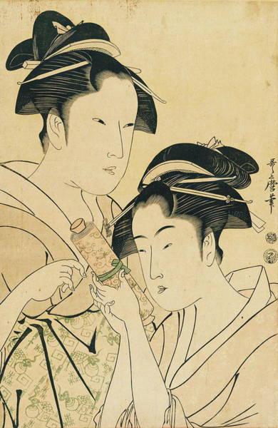 Kansai Painting - Osen Of Kagiya And Ohisa Of Takashima by Kitagawa Utamaro