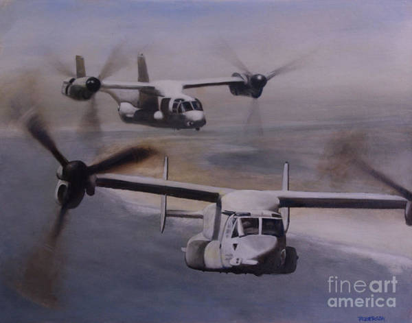 Helicopter Painting - Ospreys Over The New River Inlet by Stephen Roberson