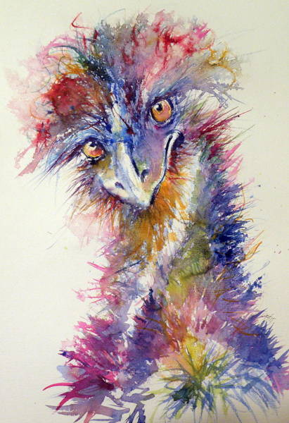 Wild Life Painting - Ostrich by Kovacs Anna Brigitta