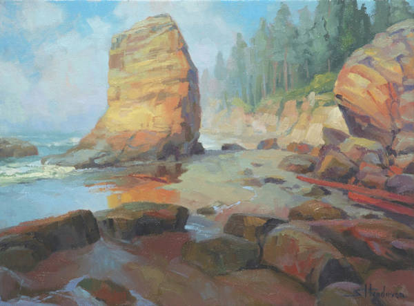 Oregon Coast Wall Art - Painting - Otter Rock Beach by Steve Henderson