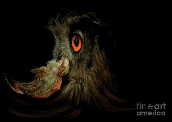Wall Art - Digital Art - Owl With Prey by Michal Boubin