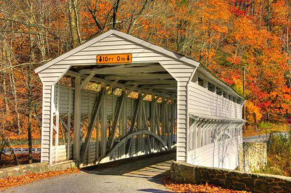 Wall Art - Photograph - Pa Country Roads - Knox Covered Bridge Over Valley Creek No. 2a - Valley Forge Park Chester County by Michael Mazaika