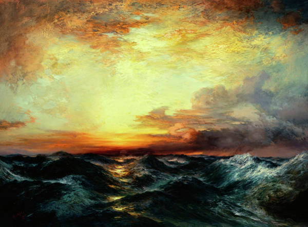 Atmospheric Painting - Pacific Sunset  by Thomas Moran