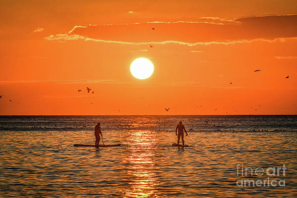 Photograph - Paddle Boarding At Sunset In Aberystwyth by Keith Morris