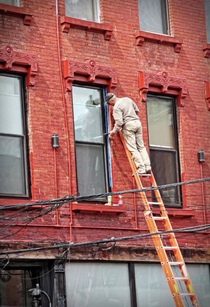 Photograph - Painting A Brownstone Building Orange In New York by Doc Braham
