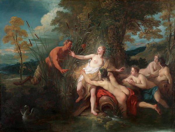 Artemis Wall Art - Painting - Pan And Syrinx by Jean-Francois Detroy