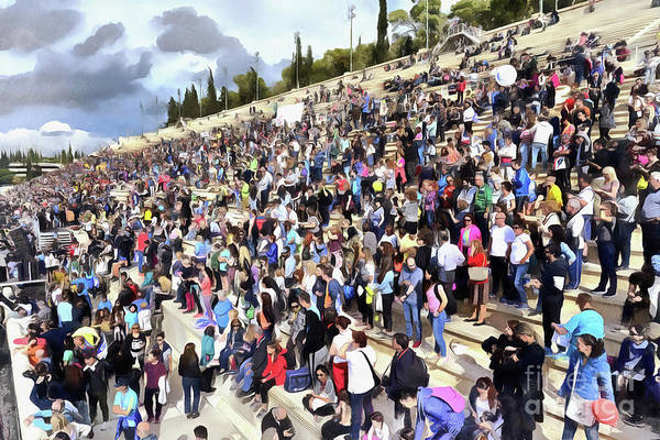 Athens Marathon Wall Art - Painting - Panathenean Stadium Full Of People by George Atsametakis