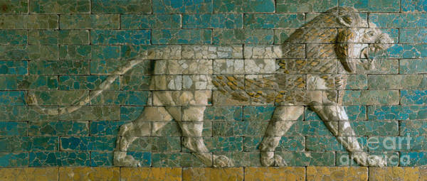 Wall Art - Ceramic Art - Panel With Striding Lion by Babylonian School