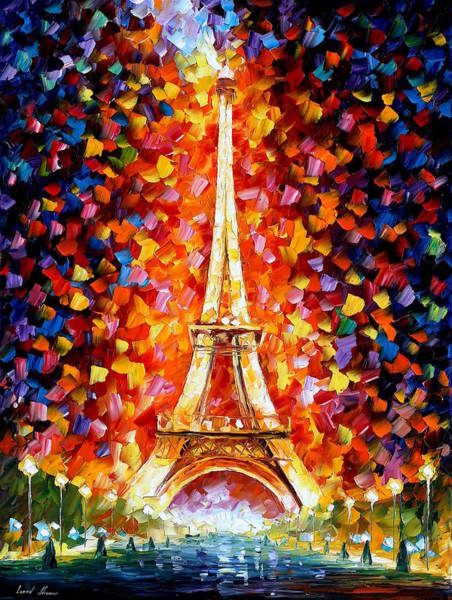 Wall Art - Painting - Paris Eiffel Tower Lighted by Leonid Afremov
