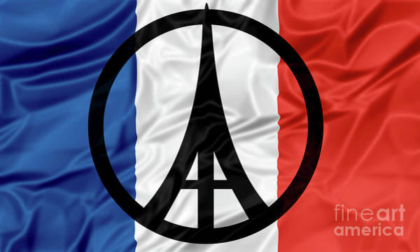 Digital Art - Paris Peace Flag by Benny Marty