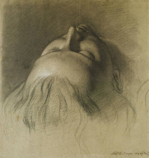 Ford Drawing - Parisina's Sleep - Study For Head Of Parisina by Ford Madox Brown