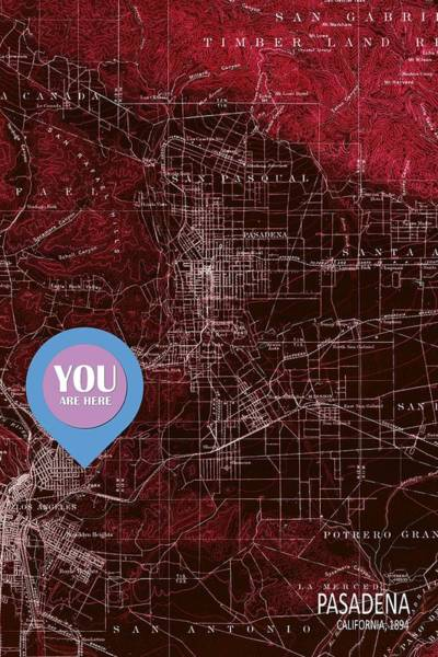 Glendale Wall Art - Painting - Pasadena California Red Old Map by Drawspots Illustrations