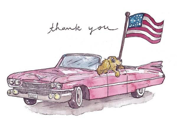 Service Dog Painting - Patriotic Puppy Thank You Card by Katrina Davis