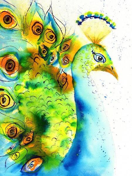 White Peacock Painting - Peacock Watercolor by Carlin Blahnik CarlinArtWatercolor