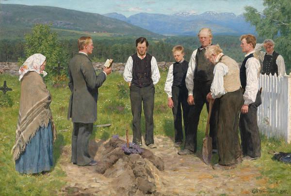 Painting - Peasant Burial by Erik Werenskiold