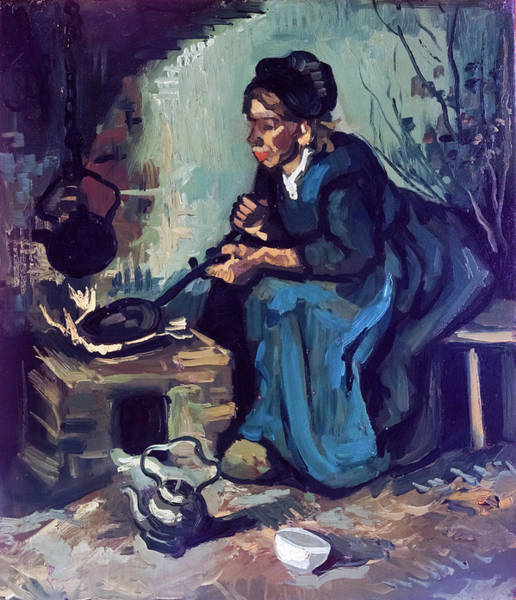 Painting - Peasant Woman Cooking By A Fireplace by Vincent van Gogh