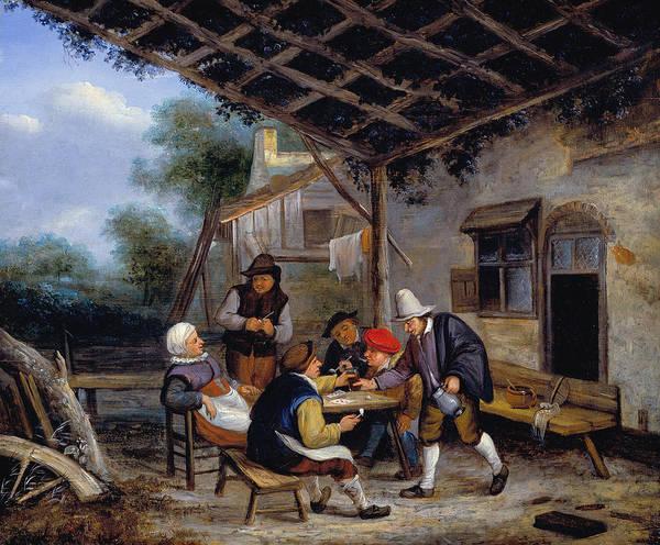 Gaming Painting - Peasants Drinking by Adriaen van Ostade