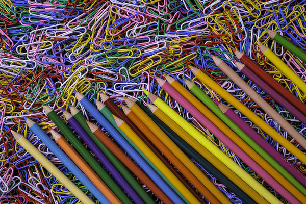 Pencil Drawing Photograph - Pencils And Paperclips by Garry Gay