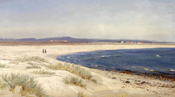 Norwegian Painting - People On A Beach by Amaldus Nielsen