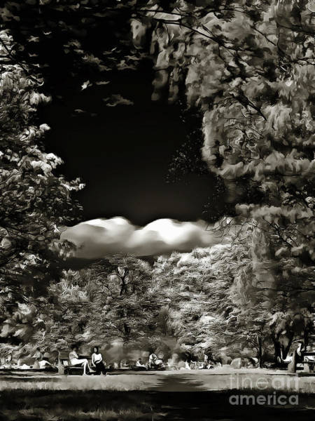 Ir Painting - People Resting In The Park by Odon Czintos