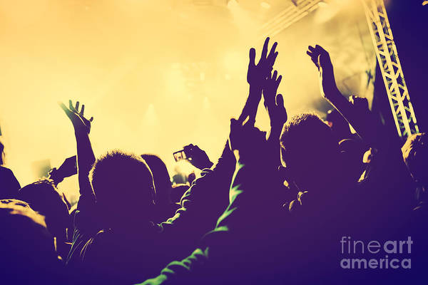 Festival Photograph - People With Hands Up In Night Club by Michal Bednarek