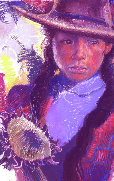 Pastel - Peruvian Girl With Sunflower by Ellen Dreibelbis