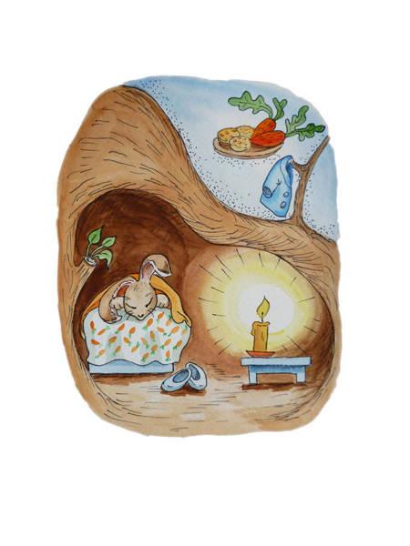Carrot Painting - Peter Rabbit And His Dream by Irina Sztukowski