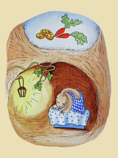 Carrot Painting - Peter Rabbit Watercolor Illustration I by Irina Sztukowski