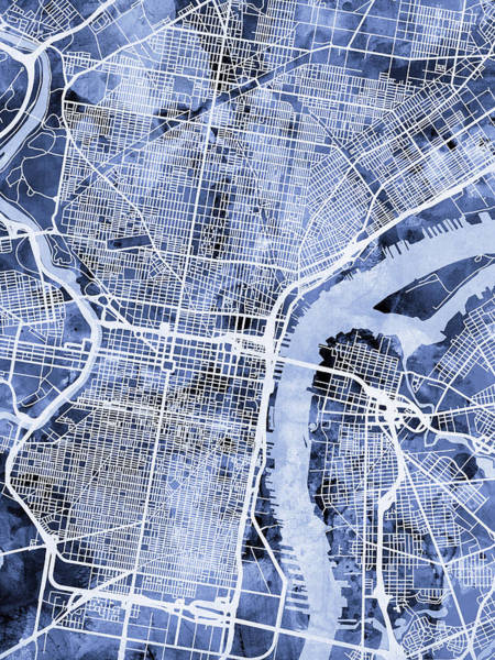 Streets Digital Art - Philadelphia Pennsylvania City Street Map by Michael Tompsett