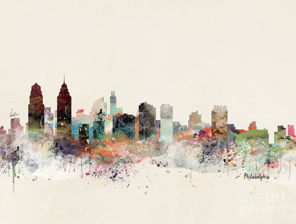Philadelphia Cityscape Wall Art - Painting - Philadelphia Pennsylvania Skyline by Bri Buckley