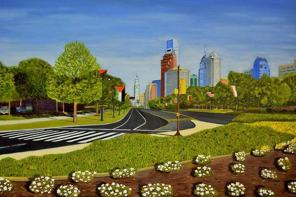 Philae Painting - Philadelphia Skyline by Michael Walsh