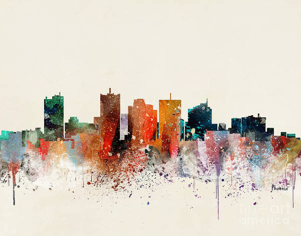 Wall Art - Painting - Phoenix Skyline by Bri Buckley
