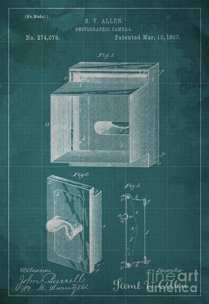 Invention Painting - Photographic Camera Patent Year 1883 by Drawspots Illustrations