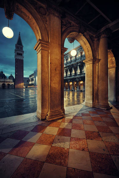 Photograph - Piazza San Marco Hallway Night View by Songquan Deng
